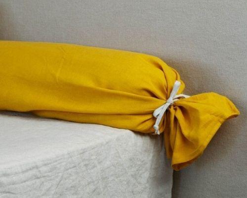 Taie de traversin jaune safran